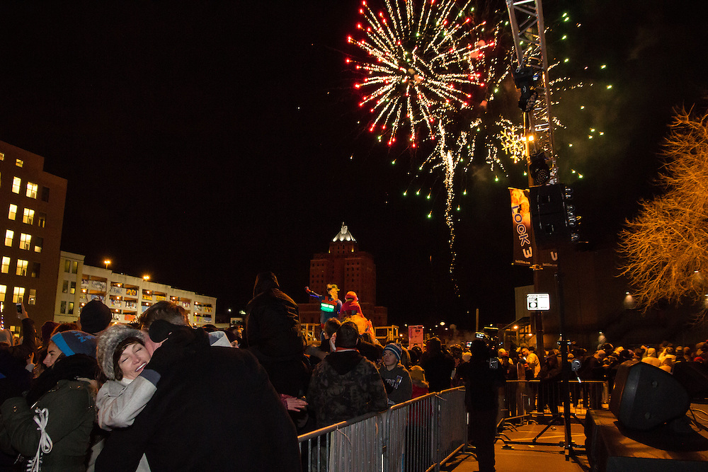 Fireworks on Main Street at First Night Akron 2015