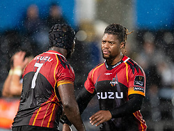 Scott Williams of Ospreys celebrates with team-mate  Thembelani Bholi after the win<br /> <br /> Photographer Simon King/Replay Images<br /> <br /> Guinness PRO14 Round 6 - Ospreys v Southern Kings - Saturday 9th November 2019 - Liberty Stadium - Swansea<br /> <br /> World Copyright © Replay Images . All rights reserved. info@replayimages.co.uk - http://replayimages.co.uk