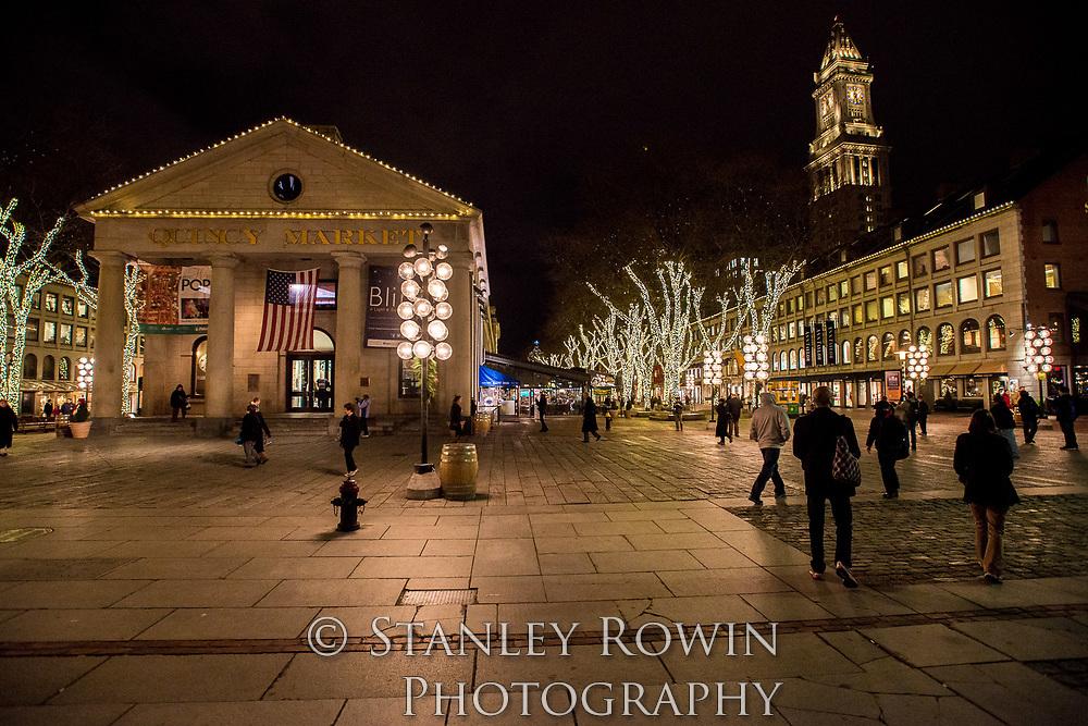 Quincy Market night time, Boston MA