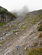 Take care crossing Boomerang Slip, in Taranaki / Mount Egmont National Park, New Zealand, North Island