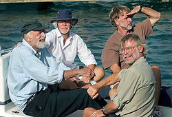 06 April 2011. St Maarten, Antilles, Caribbean.<br /> Crew of the Antiki arrive in the islands following their epic 9 week trans-Atlantic journey from the Canary islands. <br /> L/R; Anthony Smith (84 yrs old) British adventurer, John Russell, solicitor and UK resident, David Hildred, sailing master and British Virgin Islands resident,  Dr Andrew Bainbridge of Alberta, Canada.<br /> Photo; Charlie Varley/varleypix.com