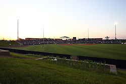 18 May 2012:  Corn Crib Stadium from right center field fence a sunset during a Frontier League Baseball game between the Windy City Thunderbolts and the Normal CornBelters at Corn Crib Stadium on the campus of Heartland Community College in Normal Illinois