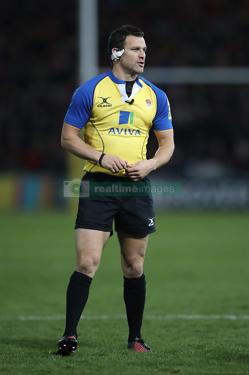 Referee and former Harlequins player Karl Dickson officiates his first Aviva Premiership match during the Aviva Premiership match at Kingsholm Stadium, Gloucester.