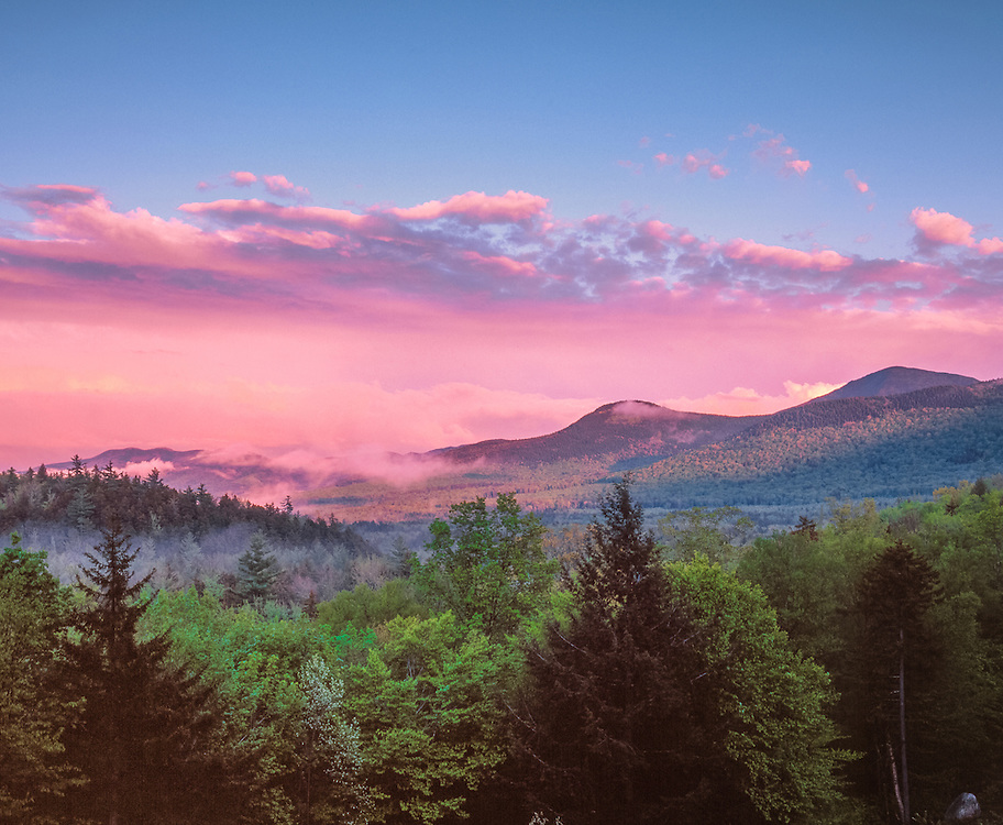 Potash Mtn clearing fog at last light, White Mountain National Forest, Livermore, NH