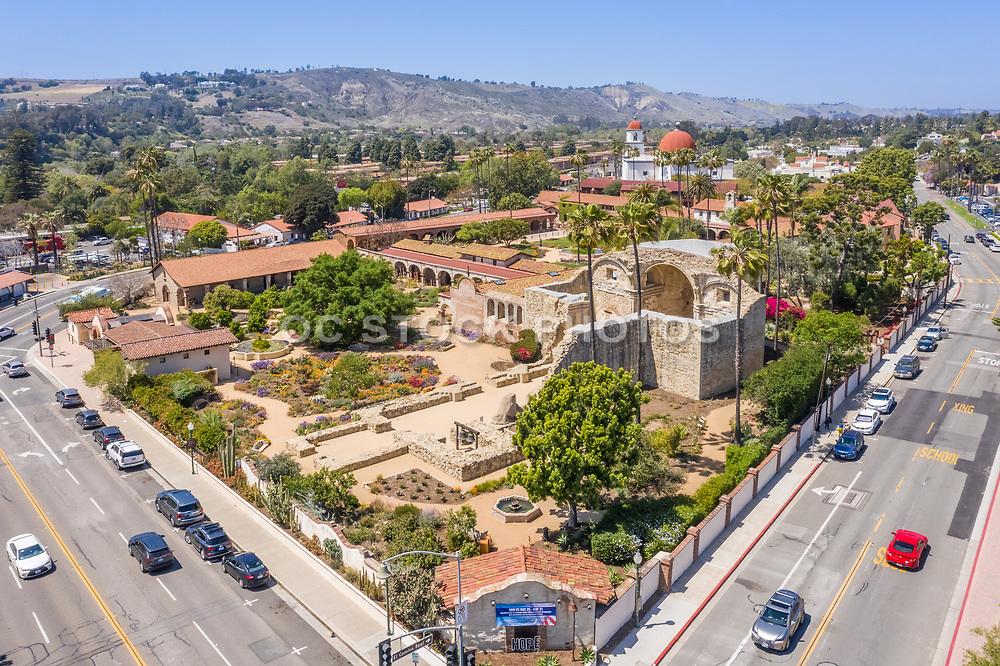 Aerial Photo of Mission Basilica San Juan Capistrano on the Corner of El Camino Real and Ortega Highway