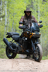 Danger Dan Hardick and his 2-week old Harley-Davidson Pan-America adventure bike just outside Red River, NM, USA. Sunday, May 30, 2021. Photography ©2021 Michael Lichter.