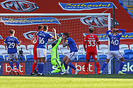 Cardiff City's Aden Flint (5) can't believe he has missed a chance to score during the EFL Sky Bet Championship match between Cardiff City and Nottingham Forest at the Cardiff City Stadium, Cardiff, Wales on 2 April 2021.