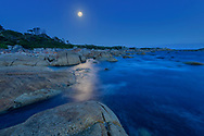 Oceania, Australia; Australian; Tasmania; Bay of Fires, Eddystone Point  at full moon
