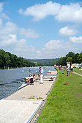 Henley on Thames, England, United Kingdom, Crews boating and moving down towards Temple Island, to the marshalling area up river of the Island,  Friday, 02/07/2021,   Henley Women's Regatta, Henley Reach,  [Peter Spurrier/Intersport Images],