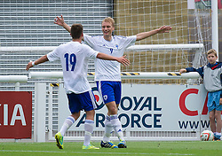 14.08.2013, Nantporth Stadion, Bangor, WAL, UEFA U21 Europameisterschaft Qualifikation, Wales vs Finnland, Gruppe 1, im Bild Finland striker Tim Vayrynen celebrates his goal to make the game 3-0 against Wales during the UEFA U21 Championship 2015 Group 1 match at Nantporth Stadium during the UEFA U21 championchip qualification group 1 match between Wales and Finland at the Nantporth stadium in Bangor, Wales on 2013/08/14. EXPA Pictures © 2013, PhotoCredit: EXPA/ Propagandaphoto/ Dave Richards<br /> <br /> ***** ATTENTION - OUT OF ENG, GBR, UK *****