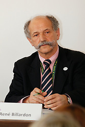 Billardon René<br /> Pressconference concerning disqualification of McLain Ward's horse Sapphire due to a positive Hypersensitivity test after the second competion of the Rolex FEI World Cup Final - Geneve 2010<br /> © Dirk Caremans