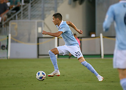 July 18, 2018 - Houston, TX, U.S. - HOUSTON, TX - JULY 18:  Sporting Kansas City forward Daniel Salloi (20) pushes the ball across the pitch during the US Open Cup Quarterfinal soccer match between Sporting KC and Houston Dynamo on July 18, 2018 at BBVA Compass Stadium in Houston, Texas. (Photo by Leslie Plaza Johnson/Icon Sportswire) (Credit Image: © Leslie Plaza Johnson/Icon SMI via ZUMA Press)