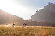 Mountain biking on Doudy Draw trail near Boulder, CO on August 28, 2018.