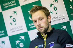 Tom Kocevar Desman of Slovenia at press conference after  the Day 2 of Davis Cup 2018 Europe/Africa zone Group II between Slovenia and Poland, on February 4, 2018 in Arena Lukna, Maribor, Slovenia. Photo by Vid Ponikvar / Sportida