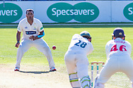 Samit Patel bowling to Harry Swindells  during the Specsavers County Champ Div 2 match between Glamorgan County Cricket Club and Leicestershire County Cricket Club at the SWALEC Stadium, Cardiff, United Kingdom on 17 September 2019.