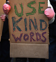 "December 10, 2016 - Washington, DC, USA - ELSIE KARLINS, 5 years old (far right) holds a sign saying ''Use Kind Words'' as the group stand in front of hotel. Children's Rally for Kindness takes place at Trump International Hotel in Washington DC on December 10, 2016 organized by the Takoma Parents Action Coalition.  According to their FaceBook page, it was a call to President-elect Donald Trump: ''to remember these lessons as he prepares to take office and implement policies that will affect the lives of children and families across our diverse nation.''.''All over the world, across cultures and countries, children learn the same basic lessons: .Ã'be kind,Ã"" .Ã'tell the truth,Ã"" .Ã'be fair,Ã"" .Ã'respect everyone,Ã"" .Ã'treat others the way you want to be treated,Ã"" .Ã'donÃ•t touch others if they donÃ•t want to be touched. (Credit Image: © Carol Guzy via ZUMA Wire)"