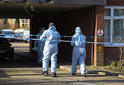 © Licensed to London News Pictures, 16/02/2018. London. UK, Forensic officers at Garenne Court in Warren Road, Chingford in East London after a 48 year old male was found with fatal knife wounds. Police are questioning a 38 year old female in connection with the murder. Photo credit: Steve Poston/LNP