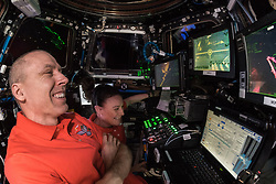 September 27, 2018 - Space - Crew mates Drew Feustel and Serena Aunon-Chancellor manually grappled the HTV7 cargo vehicle with the Canadarm robotic arm in free flight, which was then docked to ISS. Not an easy task. (Credit Image: ? ESA/ZUMA Wire/ZUMAPRESS.com)