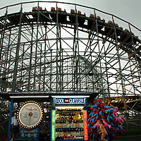 Myrtle Beach, SC-.The roller coaster towers above a Fool the Guesser game at The Amusement Park at The Myrtle Beach Pavilion. The Myrtle Beach Pavilion will close at the end of this season.