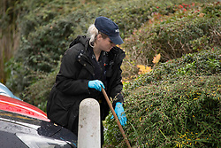 © Licensed to London News Pictures. 28/10/2020. London, UK. Police gather evidence at the crime scene in Three Bridges, Sussex; after a man has died after sustaining critical injures in an assault, on Tuesday evening. No arrests have been made. Photo credit: Marcin Nowak/LNP