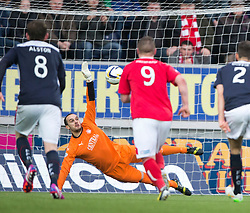 Falkirk's keeper Jamie MacDonald can't stop Brechin City's Alan Trouten from scoring their goal from the penalty spot. <br /> Falkirk 2 v 1 Brechin City, Scottish Cup fifth round game played today at The Falkirk Stadium.