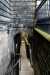 View of historic Barrie's Close (Passageway) in Edinburgh Old Town, Scotland, UK