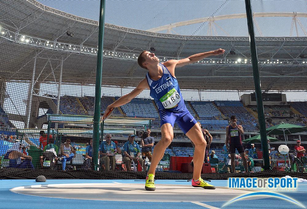 Aug 18, 2016; Rio de Janeiro, Brazil; Maicel Uibo (EST) during the men's decathlon discus in the Rio 2016 Summer Olympic Games at Estadio Olimpico Joao Havelange.