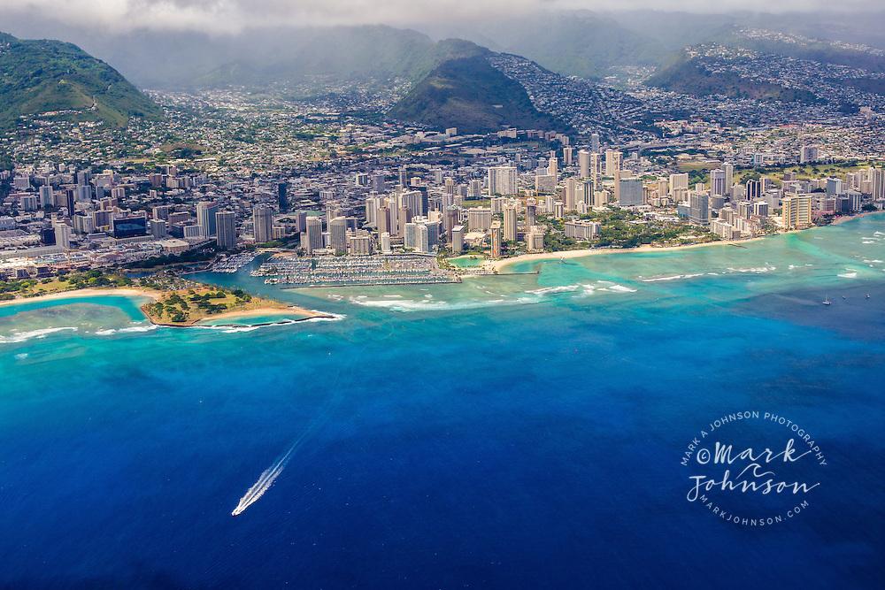 Aerial view of the Waikiki area of Honolulu, Oahu, Hawaii