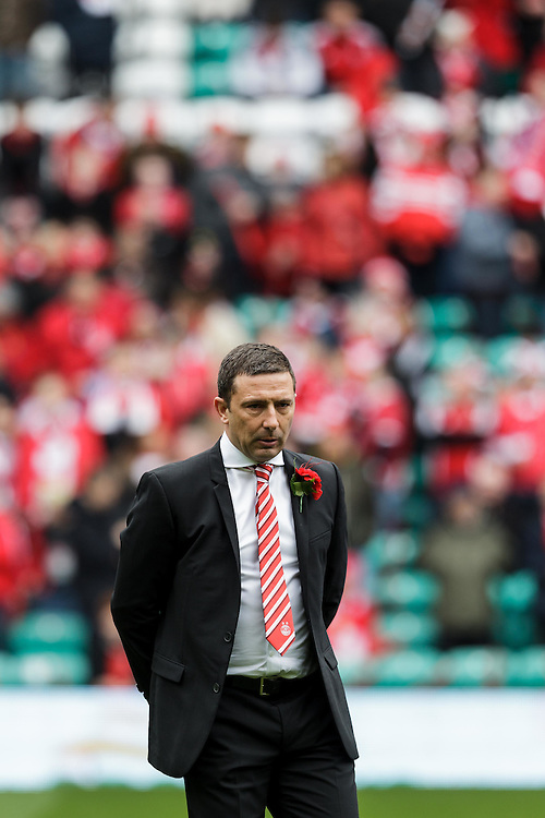 Scottish League Cup Final Aberdeen V Inverness CT at Parkhead on Sunday, 16th of March 2014, Aberdeen Scotland.<br /> Pictured: Aberdeen Manager Derek McInnes before kick off<br /> (Photo Ross Johnston/Newsline Scotland)