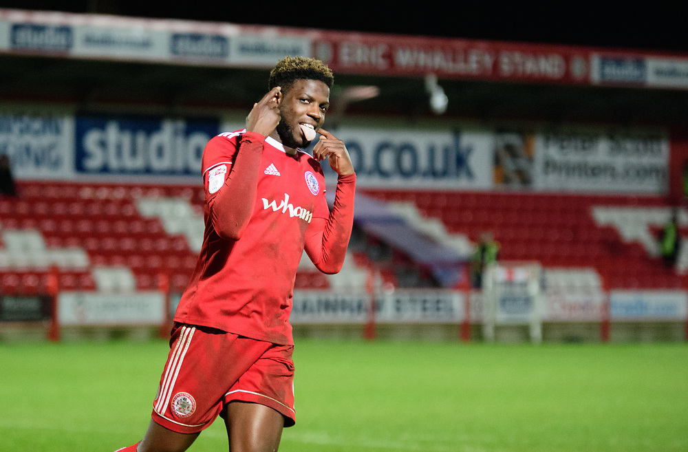 Accrington Stanley's Offrande Zanzala celebrates after his successful penalty during the penalty shoot out<br /> <br /> Photographer Andrew Vaughan/CameraSport<br /> <br /> The EFL Checkatrade Trophy Second Round - Accrington Stanley v Lincoln City - Crown Ground - Accrington<br />  <br /> World Copyright © 2018 CameraSport. All rights reserved. 43 Linden Ave. Countesthorpe. Leicester. England. LE8 5PG - Tel: +44 (0) 116 277 4147 - admin@camerasport.com - www.camerasport.com