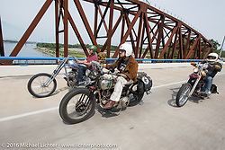 """Craig Jackman riding his 1936 HD VLH Twin Carb with """"Chopper Dudes"""" Sean Duggan and Bill Cunningham during Stage 5 of the Motorcycle Cannonball Cross-Country Endurance Run, which on this day ran from Clarksville, TN to Cape Girardeau, MO., USA. Tuesday, September 9, 2014.  Photography ©2014 Michael Lichter."""