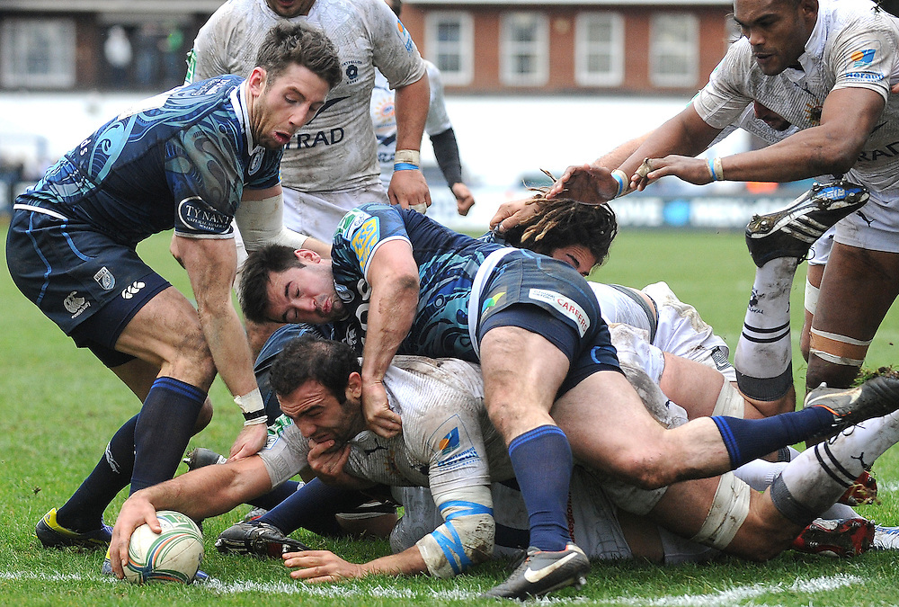 Montpellier's Mamuka Gorgodze scores his sides second try  ..Rugby Union - Heineken Cup Pool 6 - Cardiff Blues v Montpellier - Sunday 9th December 2012 - Cardiff Arms Park - Cardiff....