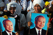 Buddhist monks and the Cambodian public mourn the death of King Norodom Sihanouk. He was the King of Cambodia from 1941 to 1955 and again from 1993 to 2005. He was the effective ruler of Cambodia from 1953 to 1970. <br /> Died: October 15, 2012, Beijing, China
