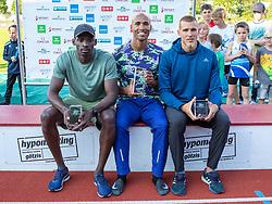 26.05.2018, Moeslestadion, Götzis, AUT, 45. Hypo Meeting Goetzis, Zehnkampf Herren, im Bild v.l. Platz 2 Lindon Victor (GRN), Platz 1 Damian Warner (CAN) und Platz 3 Maicel Uibo (EST) während der Siegerehrung // f.l. 2nd placed Lindon Victor of Grenada winner Damian Warner of Canada 3rd placed Maicel Uibo of Estland during the Winner Award Ceremony of the 45th Hypo Athletics Meeting at the Moeslestadion in Götzis, Austria on 2018/05/26. EXPA Pictures © 2019, PhotoCredit: EXPA/ Peter Rinderer