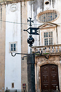 The inquisition stake (Auto-da-fe) in front od the St. Bartolomeu Church, Coimbra, Portugal