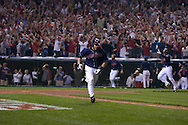 David Richard/MLB.com.Cleveland's Travis Hafner hits a game-winning single in the bottom of the 11th inning of Game 2  in the 2007 ALDS at Jacobs Field in Cleveland..