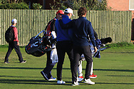 James Sugrue (GB&I) walks off the 18th with Neil Manchip during Day 1 Singles of the Walker Cup at Royal Liverpool Golf CLub, Hoylake, Cheshire, England. 07/09/2019.<br /> Picture: Thos Caffrey / Golffile.ie<br /> <br /> All photo usage must carry mandatory copyright credit (© Golffile | Thos Caffrey)