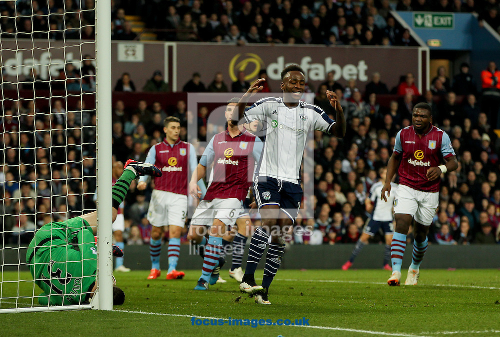 Shay Given (left) of Aston Villa gets to the ball before Saido Berahino (2nd right) of West Bromwich Albion during the FA Cup match at Villa Park, Birmingham<br /> Picture by Tom Smith/Focus Images Ltd 07545141164<br /> 07/03/2015