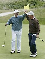 NOORDWIJK - John Woof en Tim Giles. Stern Open (Nationaal Open) op de Noordwijkse GC . Foto Koen Suyk