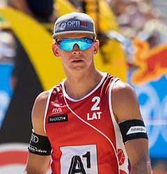31.07.2016, Strandbad, Klagenfurt, AUT, FIVB World Tour, Beachvolleyball Major Series, Klagenfurt, Herren, im Bild Janis Smedins (2, LAT) // during the FIVB World Tour Major Series Tournament at the Strandbad in Klagenfurt, Austria on 2016/07/31. EXPA Pictures © 2016, PhotoCredit: EXPA/ Lisa Steinthaler