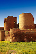 Ruins of the Armenian City walls built by  King Smbat (977–989) of Ani archaelogical site on the Ancient Silk Road , Kars , Anatolia, Turkey .<br /> <br /> If you prefer to buy from our ALAMY PHOTO LIBRARY  Collection visit : https://www.alamy.com/portfolio/paul-williams-funkystock/ani-turkey.html<br /> <br /> Visit our TURKEY PHOTO COLLECTIONS for more photos to download or buy as wall art prints https://funkystock.photoshelter.com/gallery-collection/3f-Pictures-of-Turkey-Turkey-Photos-Images-Fotos/C0000U.hJWkZxAbg