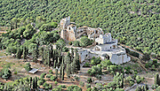 "Aerial view of Khirbat Jiddin (lit. ""ruins of Jiddin"") Crusader castle at Yehi'am Fortress National Park, Israel"