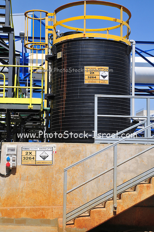 Desalination plant. Ferric Sulfate used in the process This facility turns salt water into drinking water using the Reverse Osmosis Process and will produce 127 million cubic metres of fresh water each year. Photographed in Hadera, Israel.