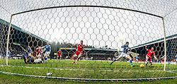 Aberdeen's Adam Rooney scoring their first goal.  <br /> St Johnstone 3 v 4Aberdeen, SPFL Ladbrokes Premiership played 6/2/2016 at McDiarmid Park, Perth.