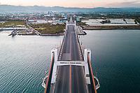 An aerial view of a nearly empty Marcelo B. Fernan Bridge on April 10, 2020 in Cebu, Philippines.