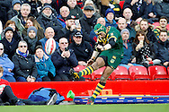 Johnathan Thurston kicks the extra points for Australia during the Ladbrokes Four Nations match between Australia and New Zealand at Anfield, Liverpool, England on 20 November 2016. Photo by Craig Galloway.