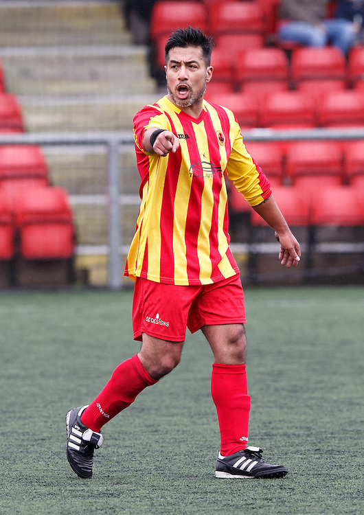 Former Celtic star Bobby Petta debut for Rossvale FC v Johnstone Burgh in the West of Scotland Central League Div 1 at Petershill Park, Springburn , Glasgow.  Picture Robert Perry 20th Feb 2016<br /> <br /> Please credit photo to Robert Perry<br /> <br /> FEE PAYABLE FOR REPRO USE<br /> FEE PAYABLE FOR ALL INTERNET USE<br /> www.robertperry.co.uk<br /> NB -This image is not to be distributed without the prior consent of the copyright holder.<br /> in using this image you agree to abide by terms and conditions as stated in this caption.<br /> All monies payable to Robert Perry<br /> <br /> (PLEASE DO NOT REMOVE THIS CAPTION)<br /> This image is intended for Editorial use (e.g. news). Any commercial or promotional use requires additional clearance. <br /> <br /> Copyright 2016 All rights protected.<br /> first use only<br /> contact details<br /> Robert Perry     <br /> 07702 631 477<br /> robertperryphotos@gmail.com<br />   <br /> Robert Perry reserves the right to pursue unauthorised use of this image . If you violate my intellectual property you may be liable for  damages, loss of income, and profits you derive from the use of this image.