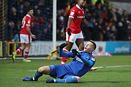 AFC Wimbledon striker Joe Pigott (39) after AFC Wimbledon striker Jake Jervis (10) misses during the EFL Sky Bet League 1 match between AFC Wimbledon and Barnsley at the Cherry Red Records Stadium, Kingston, England on 19 January 2019.