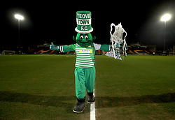 """Yeovil Town mascot the Jolly Green Giant before the Emirates FA Cup, fourth round match at Huish Park, Yeovil. PRESS ASSOCIATION Photo. Picture date: Friday January 26, 2018. See PA story SOCCER Yeovil. Photo credit should read: Nick Potts/PA Wire. RESTRICTIONS: EDITORIAL USE ONLY No use with unauthorised audio, video, data, fixture lists, club/league logos or """"live"""" services. Online in-match use limited to 75 images, no video emulation. No use in betting, games or single club/league/player publications."""