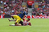 Football - 2021/ 2022 Premier League - Southampton vs. Manchester United - St Mary's Stadium - Sunday 22nd August<br /> <br /> Bruno Fernandes of Manchester United screams out after being tackled by Southampton's Che Adams during the Premier League match at St Mary's Stadium Southampton <br /> <br /> COLORSPORT/Shaun Boggust